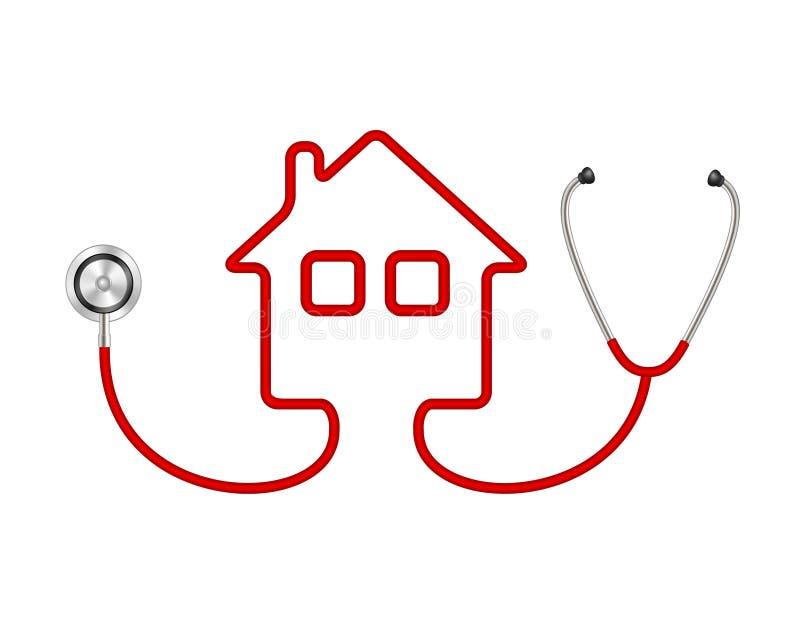 Stethoskop in Form des Hauses vektor abbildung