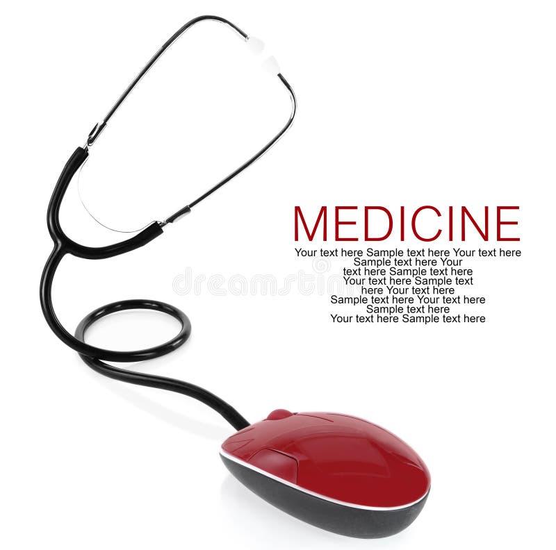 Stethoskop mit Computermaus lizenzfreies stockfoto