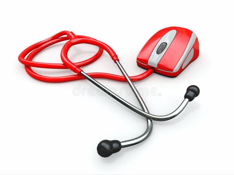 Stethscope i komputerowa mysz. royalty ilustracja