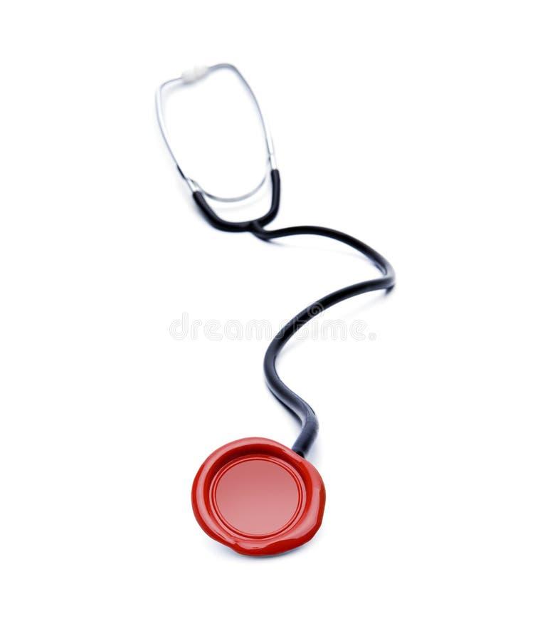 Stetoscope med skyddsremsan av kvalitet royaltyfria foton