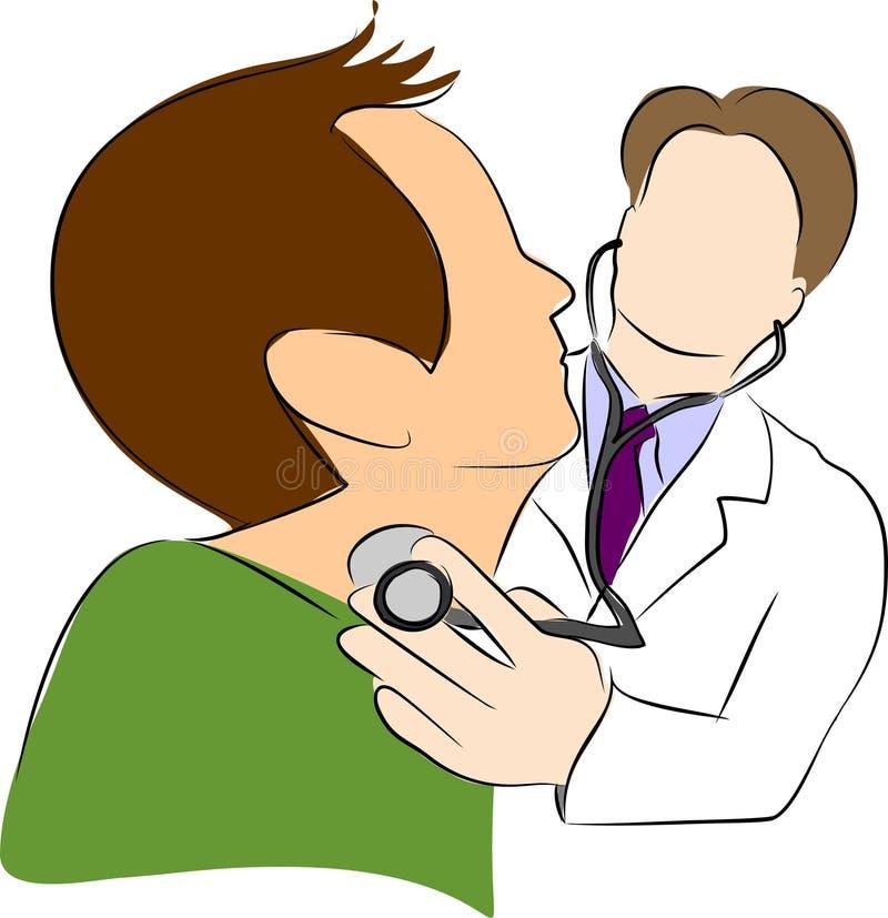Stetoscopio di uso del medico con il paziente royalty illustrazione gratis