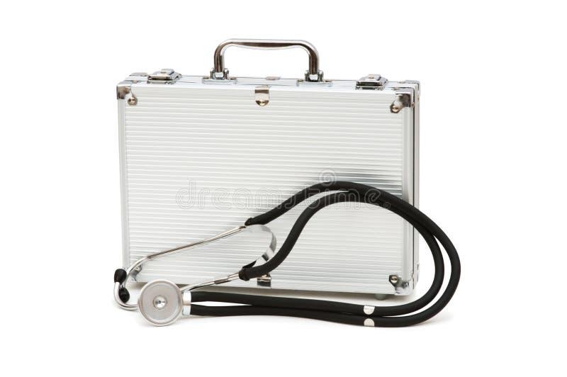 Stetoscopio e cassa isolati fotografia stock