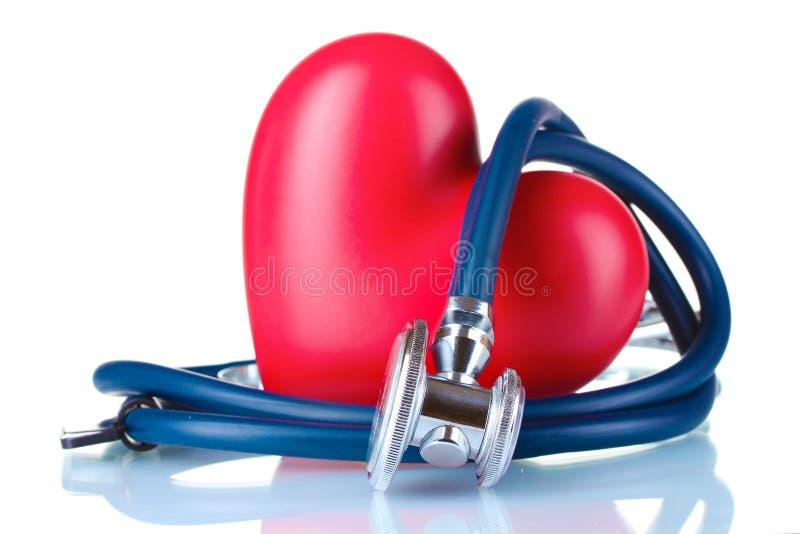 Stetoscopio e cuore medici fotografia stock libera da diritti