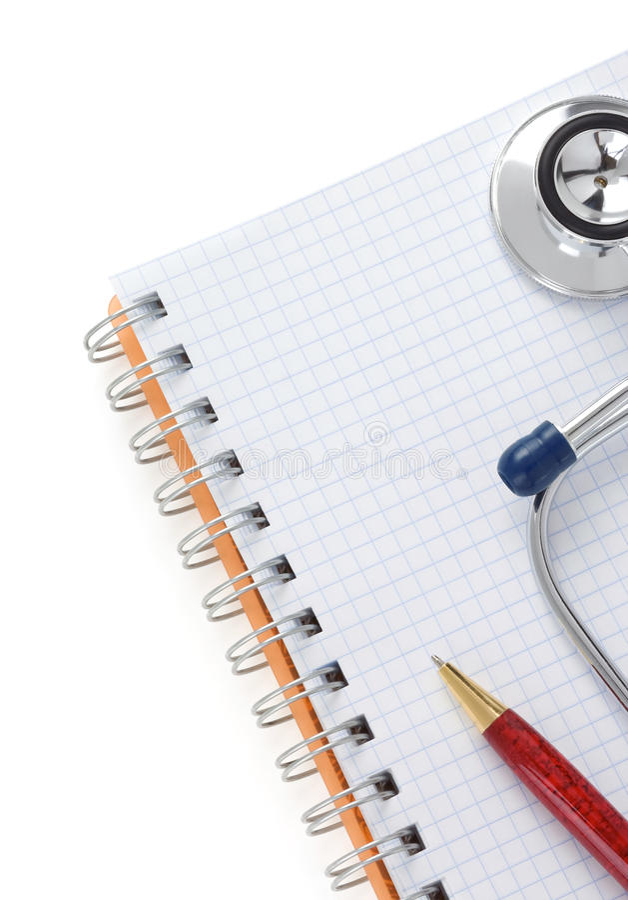 Stetoscopio e taccuino immagine stock
