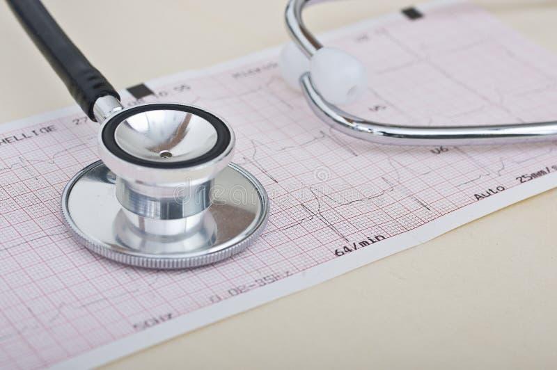 Stetoscopio ed elettrocardiogramma immagini stock libere da diritti