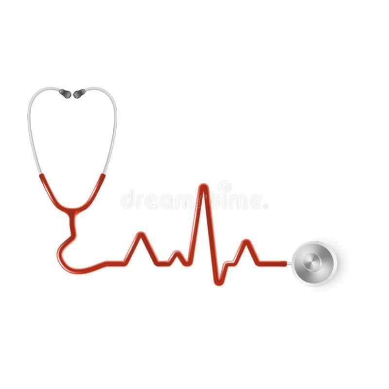 Stetoscopio medico realistico Attrezzatura medica, modello della medicina ENV 10 illustrazione di stock