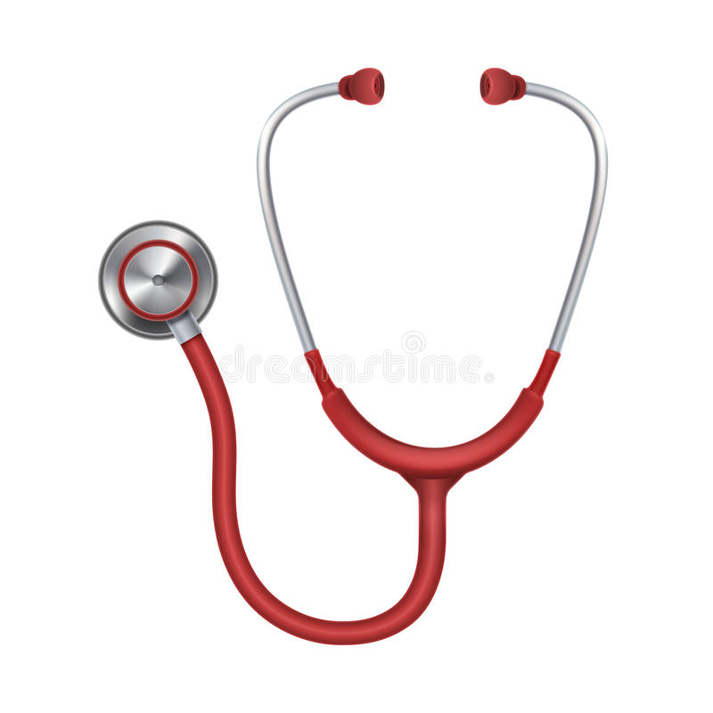 Stetoscopio medico realistico, phonendoscope isolato sull'illustrazione bianca di vettore del fondo illustrazione di stock