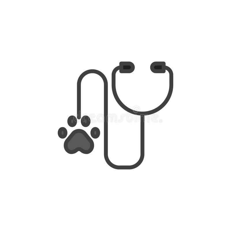Stetoscopio per l'icona del profilo riempita diagnosi animale illustrazione di stock