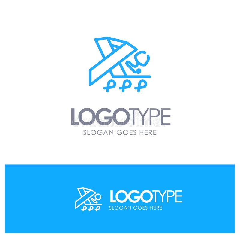 Stetoscopio, salute, nastro, consapevolezza Logo Line Style blu royalty illustrazione gratis