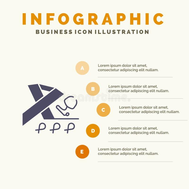 Stetoscopio, salute, nastro, modello di presentazione di Infographics di consapevolezza Una presentazione di 5 punti royalty illustrazione gratis