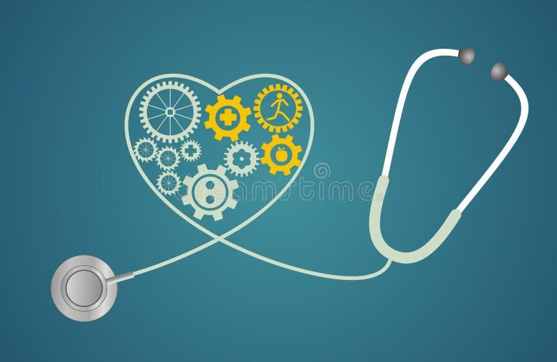 Stetoscopio sotto forma di un cuore con gli ingranaggi illustrazione di stock