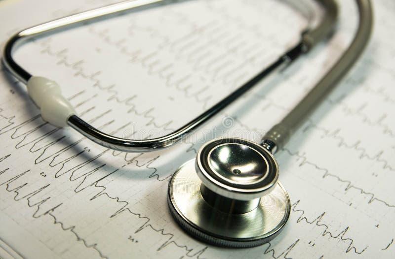 Stetoscopio sul cardiogramma immagini stock libere da diritti