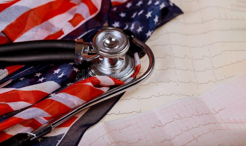 Stetoscopio sulla bandiera degli Stati Uniti Stampa grafica dei battiti cardiaci di misurazione del cardiogramma fotografia stock libera da diritti