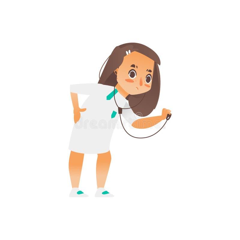 Stetoskop för doktor för vektortecknad filmflicka hållande stock illustrationer
