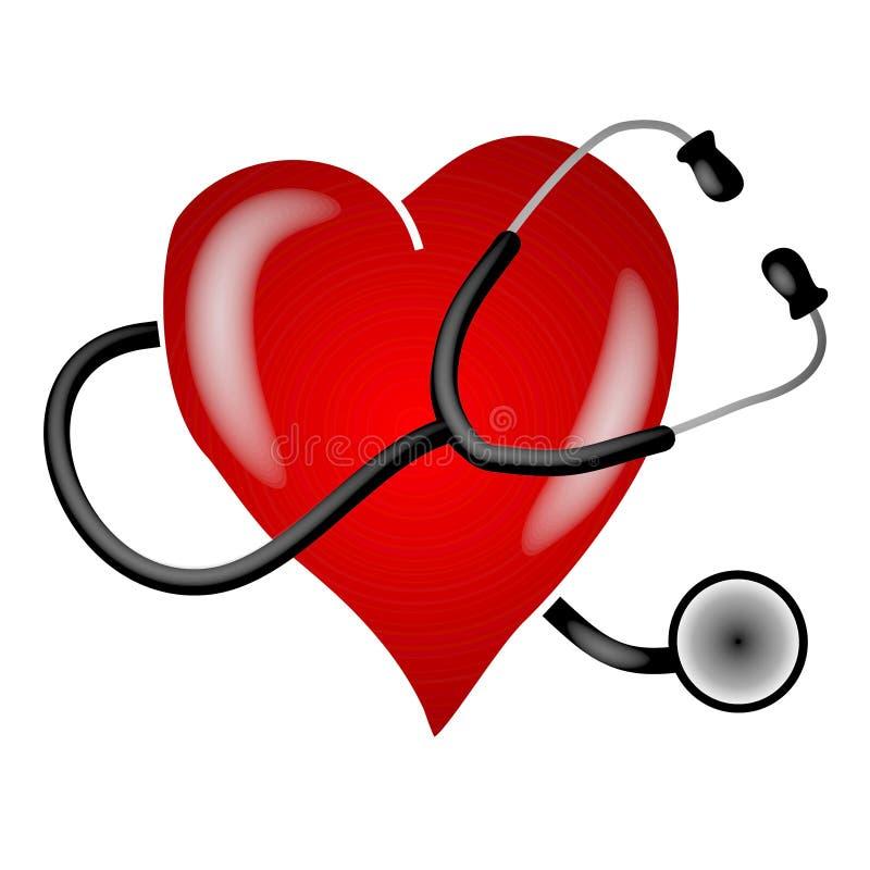 stetoskop för konstgemhjärta vektor illustrationer