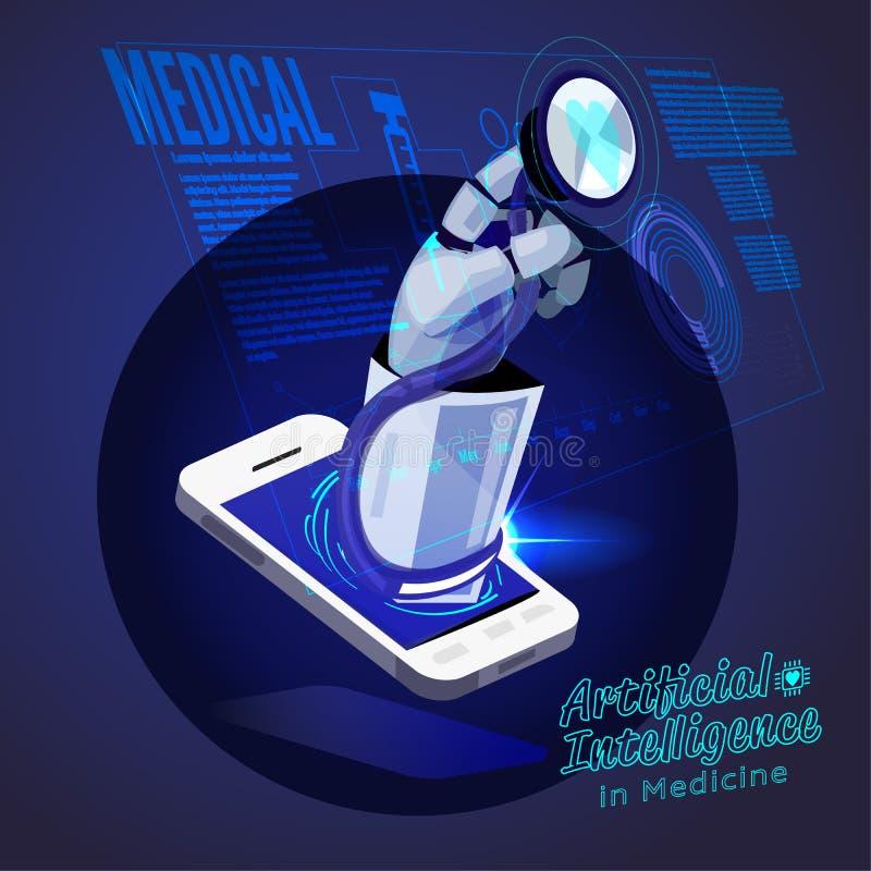 Stetoskop för robothandinnehav som kontrollerar den medicinska manöverenheten konstgjort intellifent - vektor vektor illustrationer