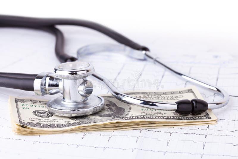 Stetoskop i dolary obraz royalty free