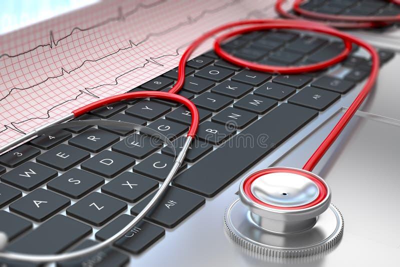 Stetoskop i ECG na laptop klawiaturze royalty ilustracja