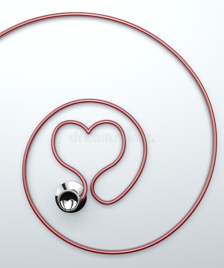 Stetoskop i form av hjärta vektor illustrationer