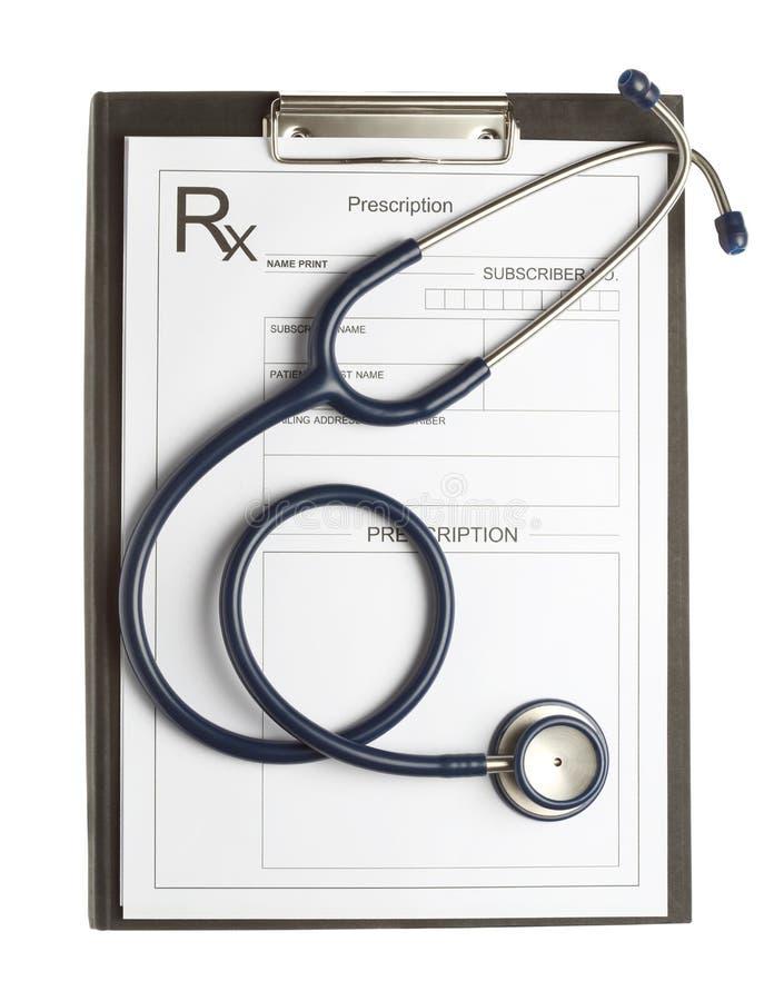 Stetoskop i recepta na białym tle odizolowywającym obrazy royalty free