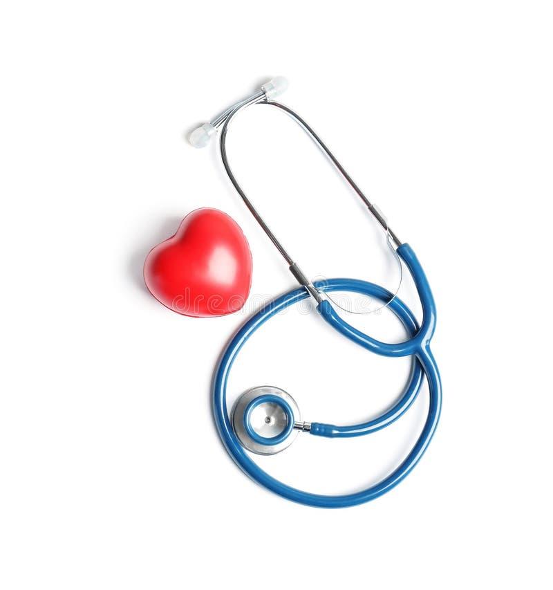 Stetoskop i serce model zdjęcia stock