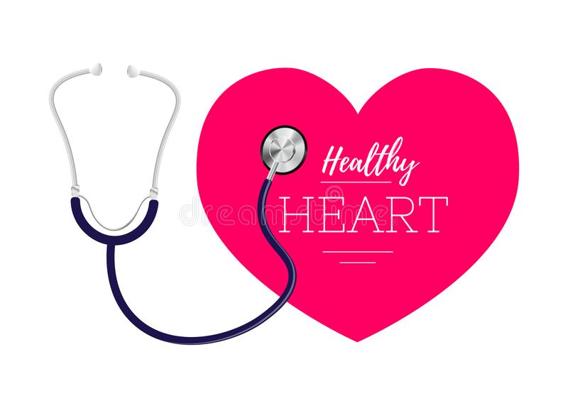 Stetoskop i serce Symbol kardiologia światowy zdrowia serca dzień ilustracja wektor