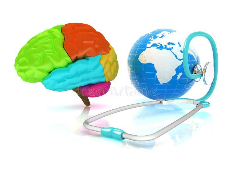 Stetoskop jordklot, hjärna - globalt medicinskt begrepp stock illustrationer