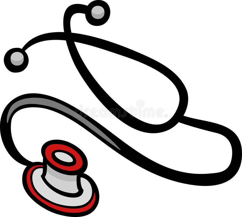 Stetoskop klamerki sztuki kreskówki ilustracja ilustracja wektor