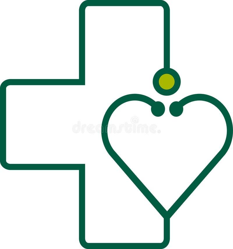Stetoskop med hjärta royaltyfri illustrationer