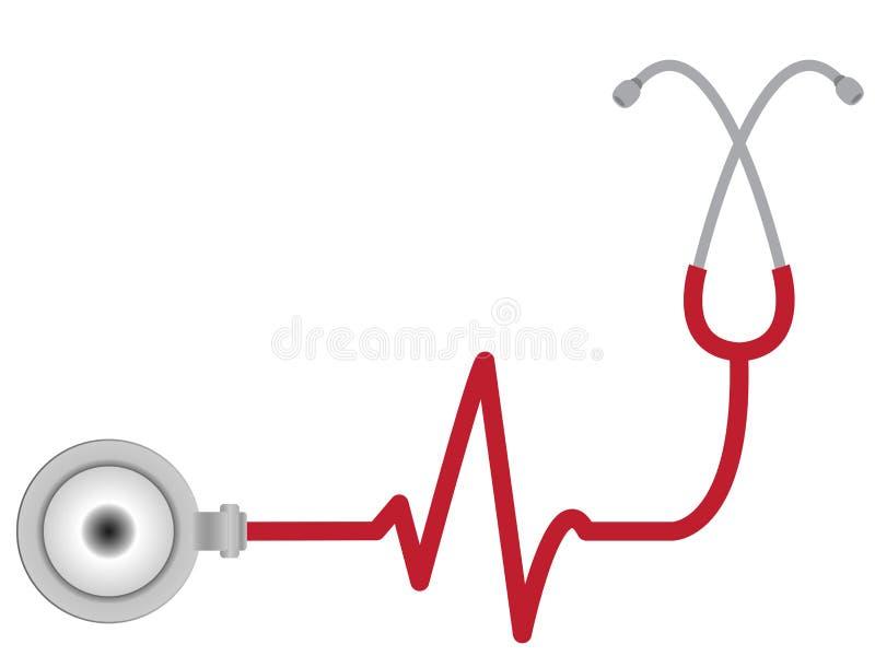 Stetoskop med hjärtatakten stock illustrationer