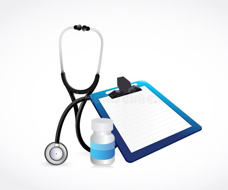 Stetoskop, medicinkrus och tom skrivplatta läkarundersökning stock illustrationer