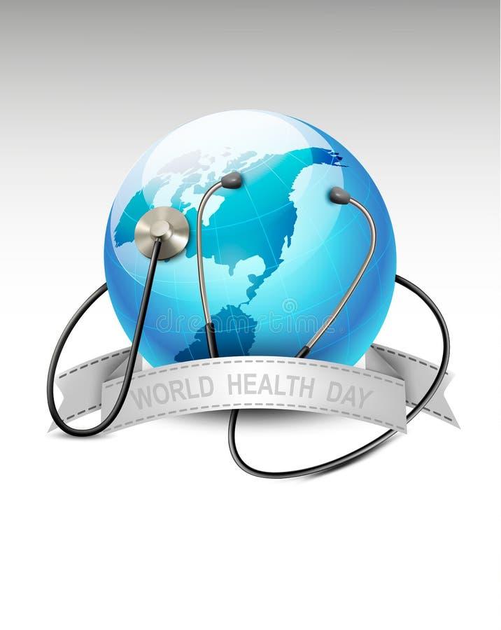 Stetoskop mot ett jordklot. Dag för världshälsa.