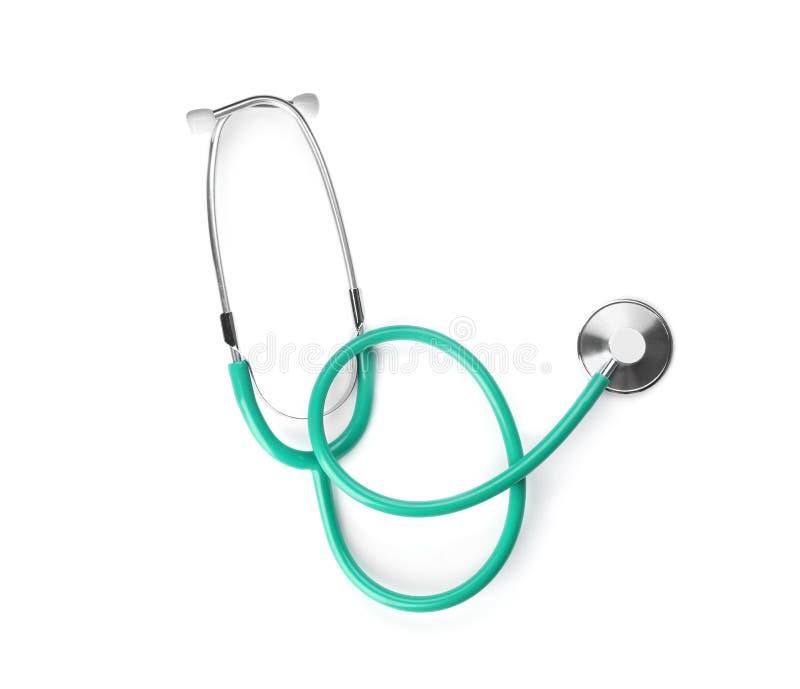 Stetoskop na białym tle, odgórny widok obraz royalty free