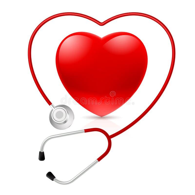 Stetoskop och hjärta royaltyfri illustrationer