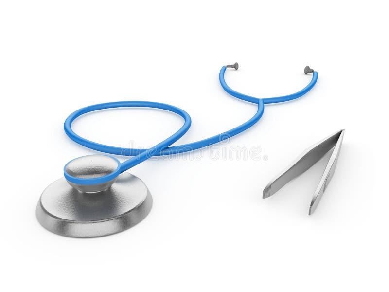 Download Stetoskop Och Kirurgisk Tång På En Vit Bakgrund Stock Illustrationer - Illustration av cardiology, diagnostiskt: 27283113