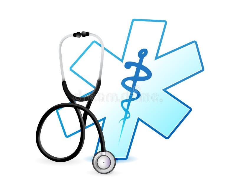 stetoskop- och läkarundersökningsymbolillustration royaltyfri illustrationer