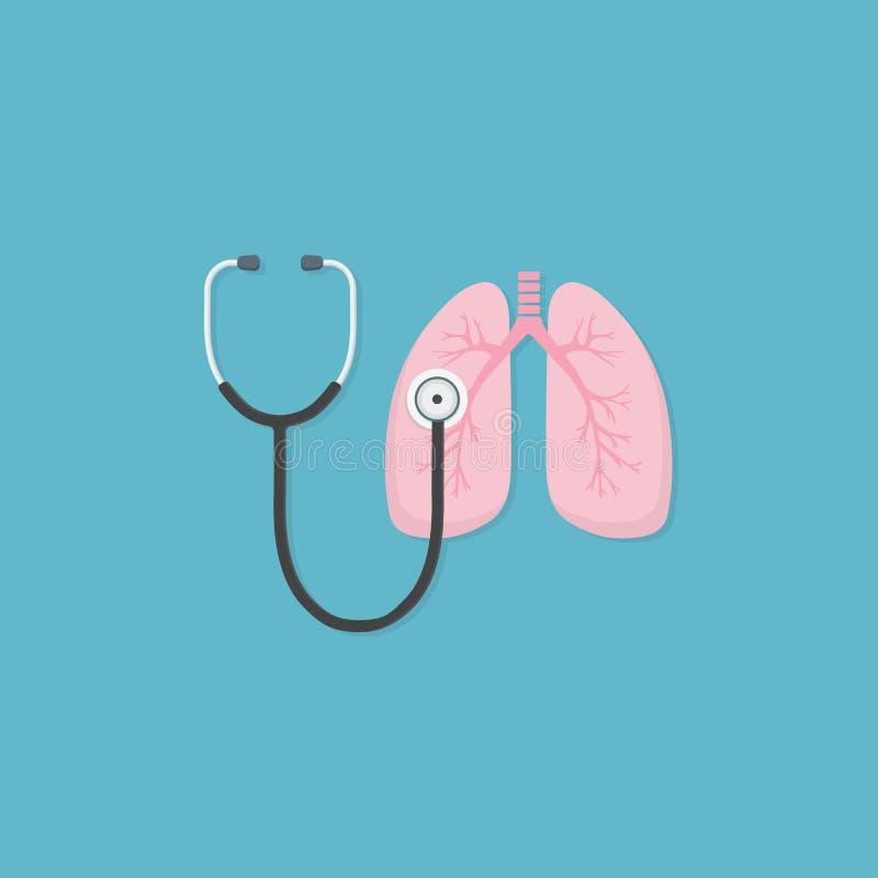 Stetoskop- och lungaillustration medicinskt hjälpmedel för att diagnostisera av sjukdomar av lungor Hälsovård- och medicinbegrepp royaltyfri illustrationer