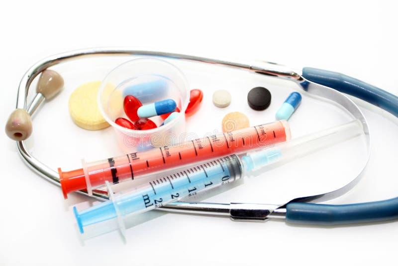 Stetoskop Och Olika Farmakologiska Förberedelser Royaltyfri Foto