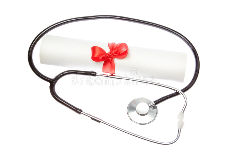 Stetoskop på bakgrund av certifikat. fotografering för bildbyråer