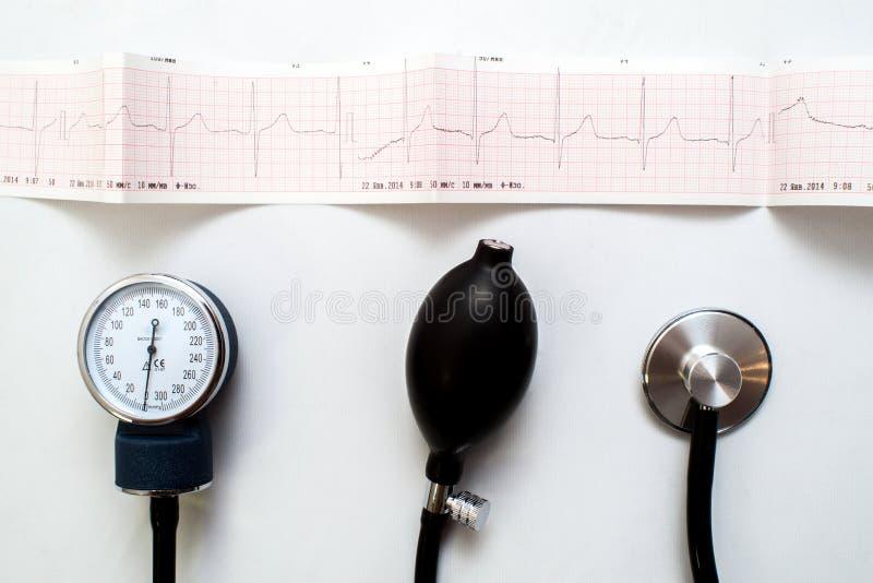 Stetoskop på elektrokardiogramgrafen royaltyfria foton
