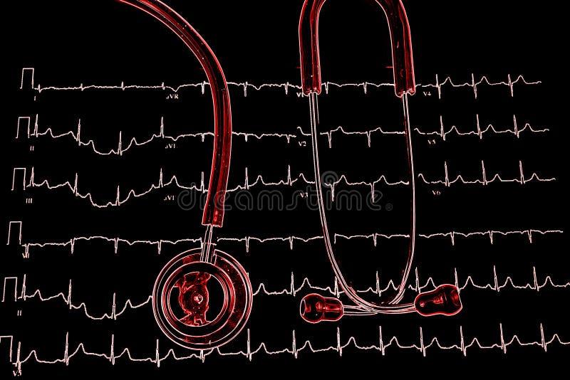 Stetoskop på sikten för graf för elektrokardiogram ECG den bästa royaltyfri bild