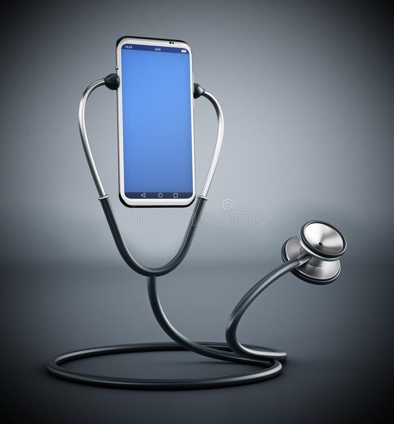 Stetoskop słucha smartphone ilustracja 3 d ilustracji