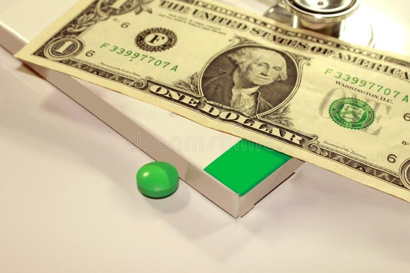 Stetoskopdollar, förbrukning på hälsa eller ekonomiskt stöd arkivbild