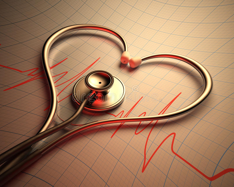 Stetoskophjärta Shape stock illustrationer