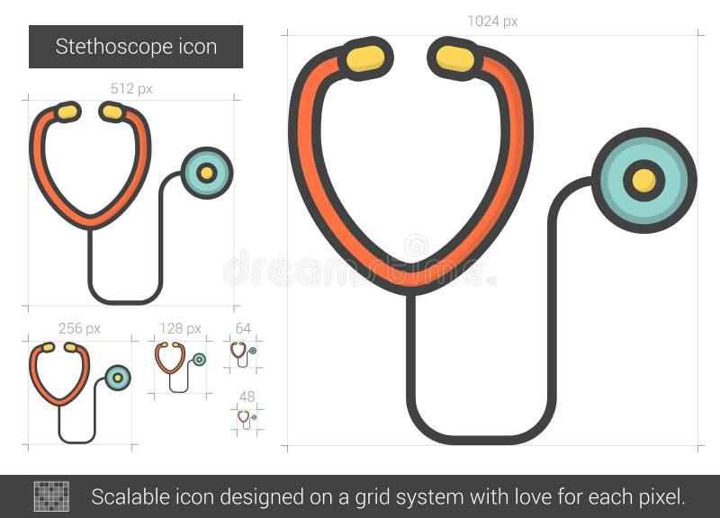 Stetoskoplinje symbol royaltyfri illustrationer