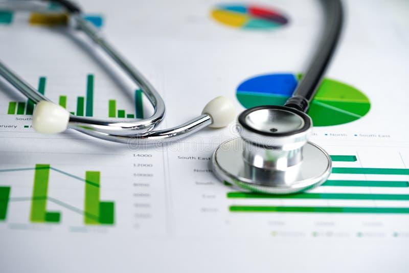 Stetoskopu, map i wykres?w spreadsheet papier, finanse, konto, statystyki, inwestycja, Analityczna badawcza dane gospodarka zdjęcie royalty free