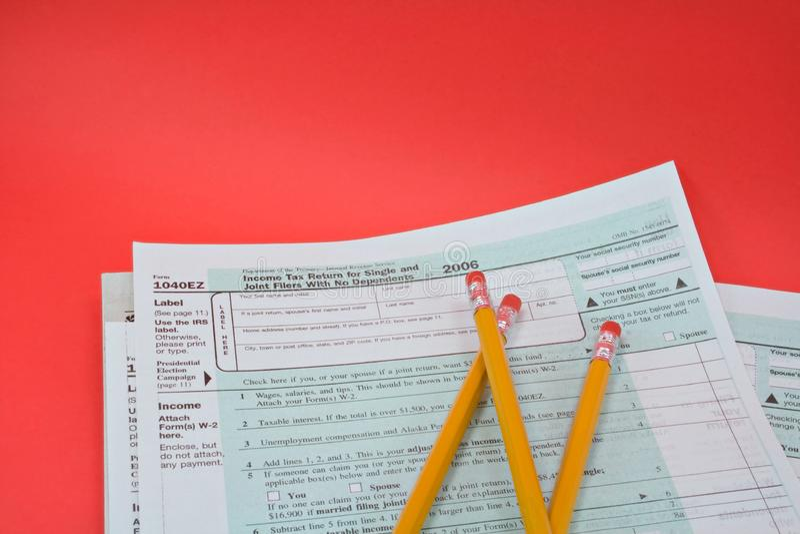 Steuerformulare 1040EZ lizenzfreies stockbild