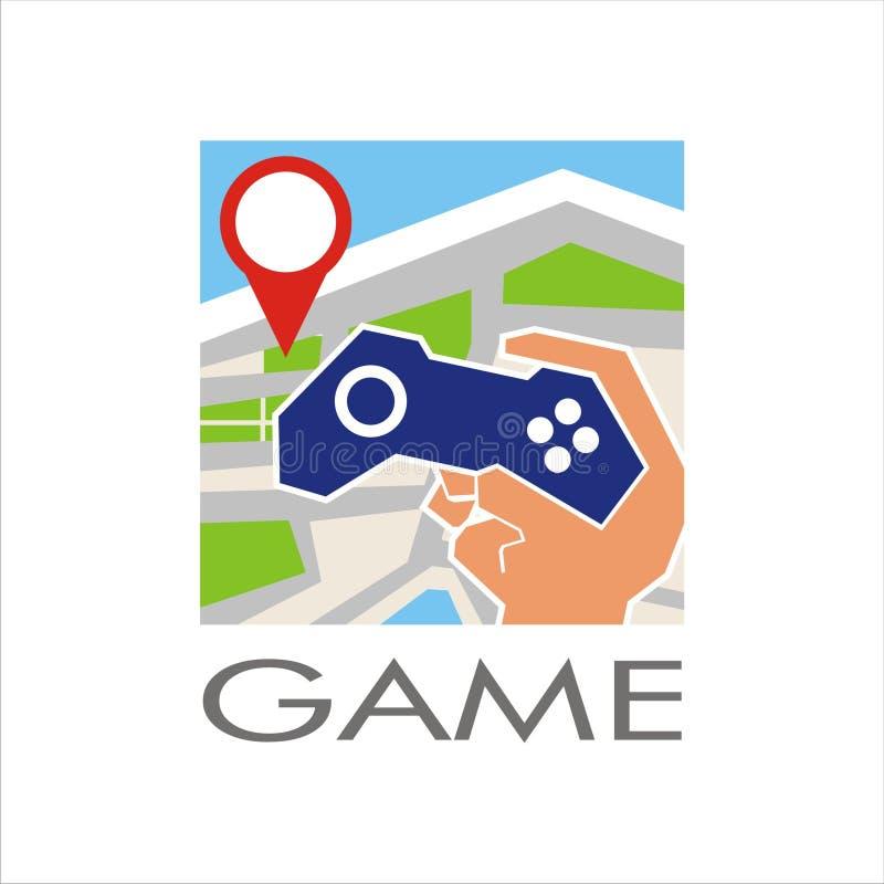 Steuerknüppel-Spielauflage Gamerstations-PC handphone Position gprs zeichnen Abenteueraktionshand-Hand-gamep der multi Spielerspi lizenzfreie abbildung