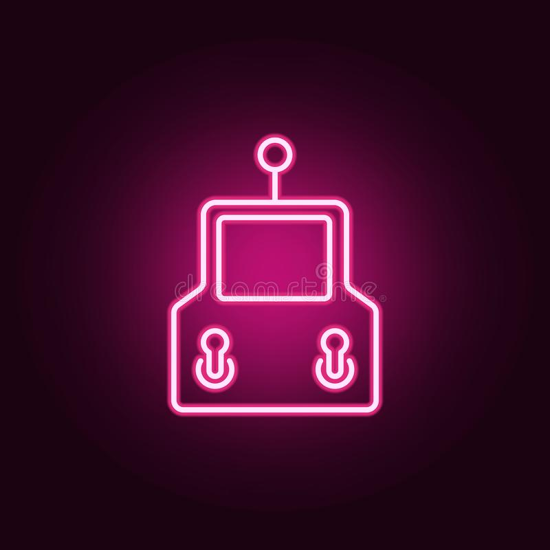 Steuerknüppelikone Elemente von Brummen in den Neonartikonen Einfache Ikone für Website, Webdesign, mobiler App, Informationsgrap lizenzfreie abbildung