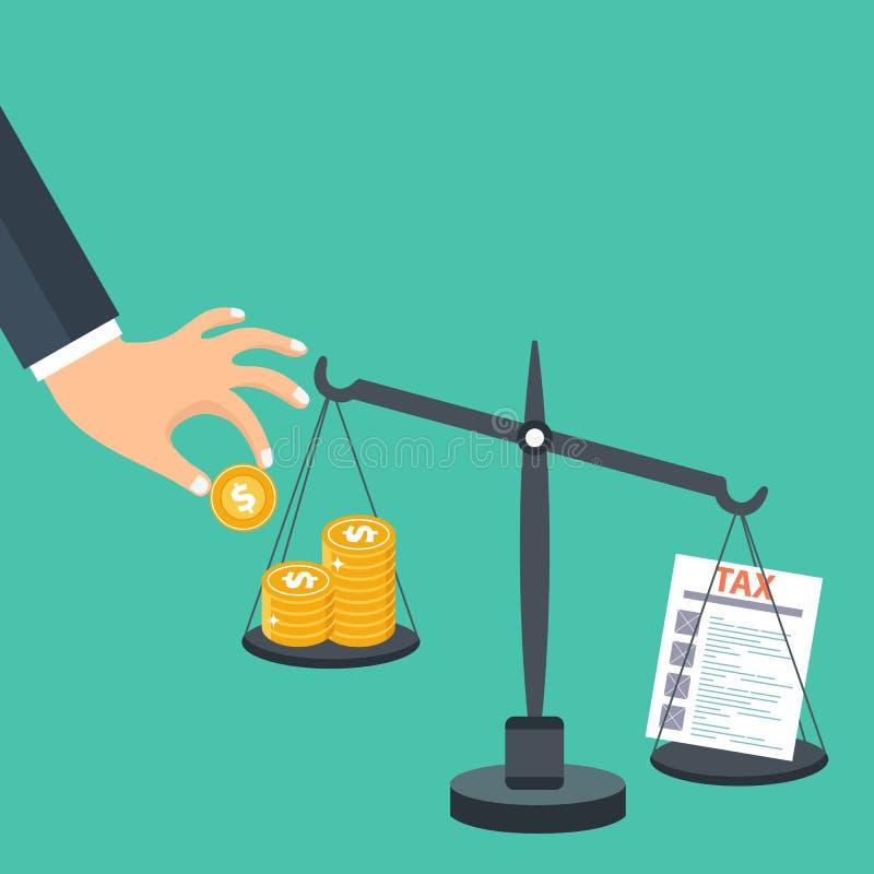 Steuerlastkonzept Geld, das mit STEUER auf Skalen balanciert Flacher Vektor stock abbildung